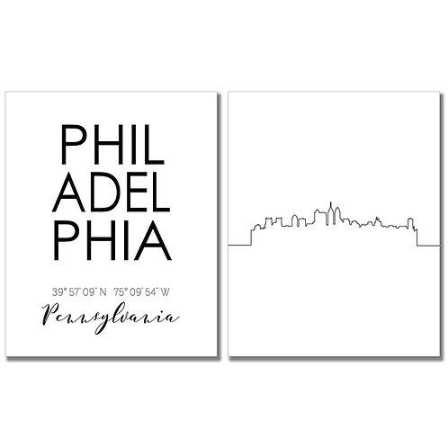 Philadelphia Pennsylvania Skyline Wall Art Prints Set of Two 8x10 Photos - City