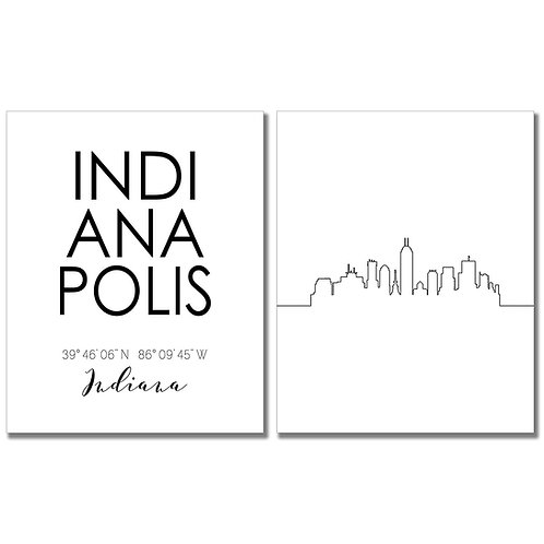 Indianapolis Indiana Skyline Wall Art Prints Set of Two 8x10 Photos - City Coord