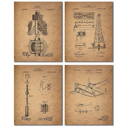 Howard Hughes Patent Prints - Set of Four Vintage Spruce Goose H-4 Hercules Oil