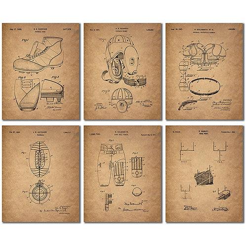 Football Patent Wall Art Prints - Set of Six Vintage Photos