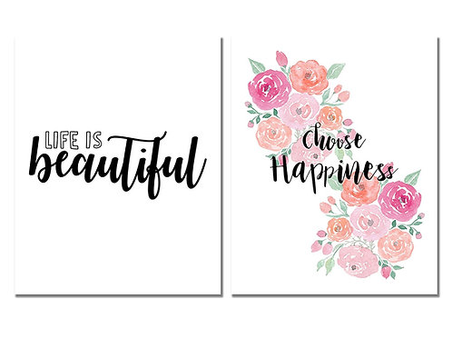 Life is Beautiful Print & Choose Happiness Set of two Inspirational 8x10 Photos