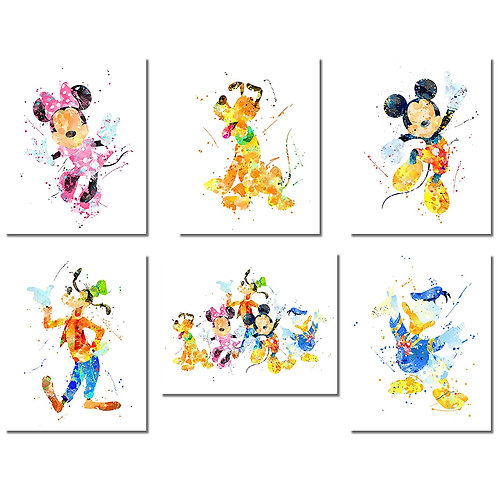 Mickey Mouse Wall Art Watercolor Poster Prints - Set of Six 8x10 Photos - with M
