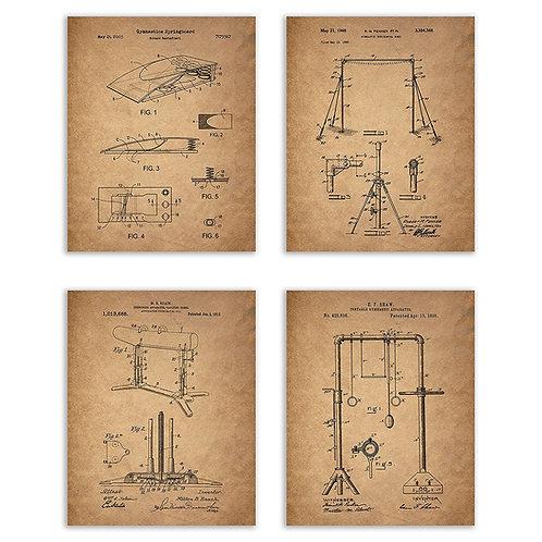 Gymnastic Patents - Set of Four - Matte Photo Prints