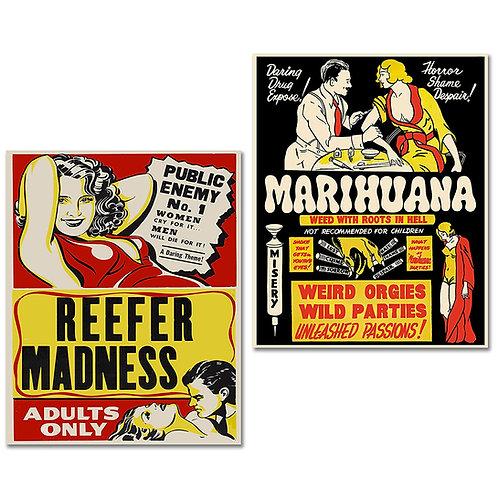 Marijuana Cannabis Propaganda Posters Reefer Madness Set of Two 8x10 Photos - Wa