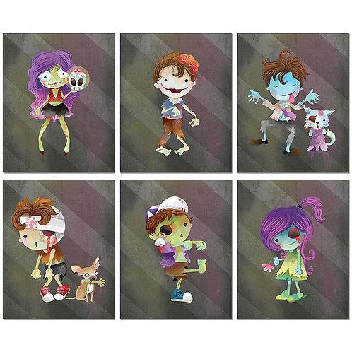 Zombie Kids Watercolor Prints - Set of Six 8x10 Wall Decor Photos Original Art H