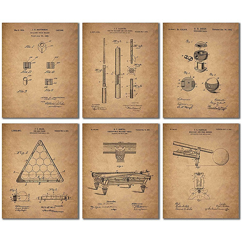 Billiards Patent Wall Art Prints - Set of Six Vintage Pool Historical Photos