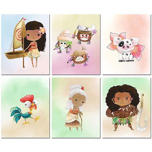 Moana Kids Art Prints - Set of 6 Original 8x10 Photos
