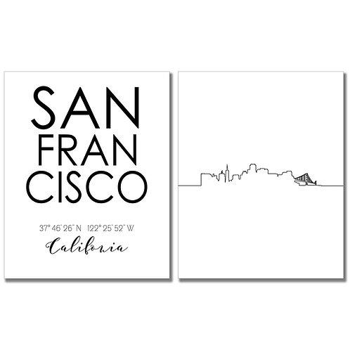 San Francisco California Skyline Wall Art Prints Set of Two 8x10 Photos - City C