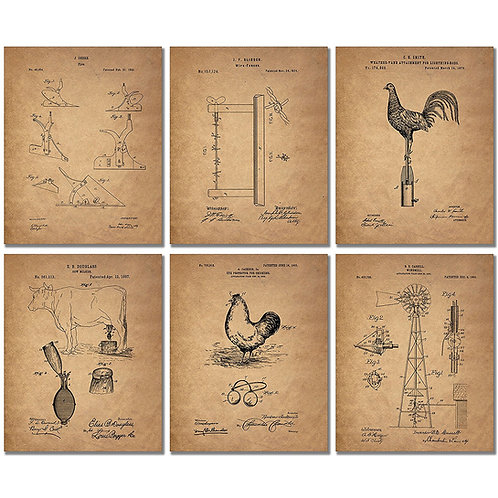 Farm Patent Prints - Set of SIX Photos - Country Western Wall Art Decor
