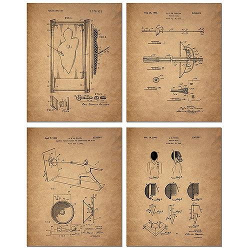 Fencing Patent Prints - Set of Four 8 x 10 Photos