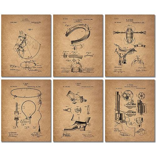 Cowboy Patent Art Prints - Set of 6 Western Wall Decor 8x10 Photos Spurs Colt Pe