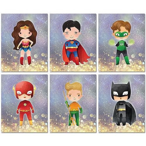 Justice League Prints - Kids Room Wall Decor - Set of Six 8x10 Original Art Phot