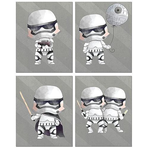 Stormtroopers Star Wars Prints - Set of Four 8x10 Watercolor Original Art Photos
