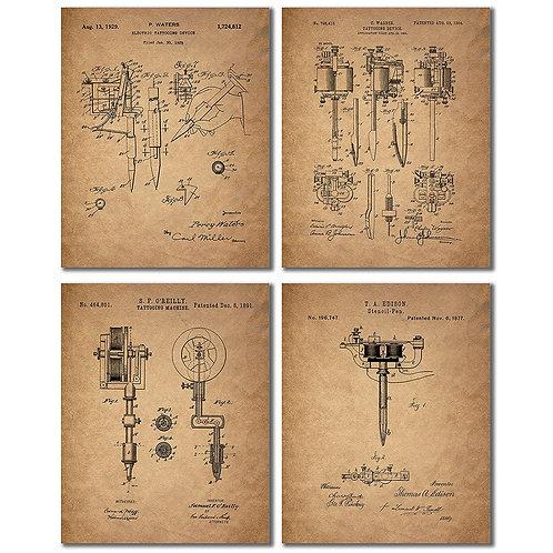Tattoo Artist Patent Prints - Set of Four Vintage Wall Art Photos