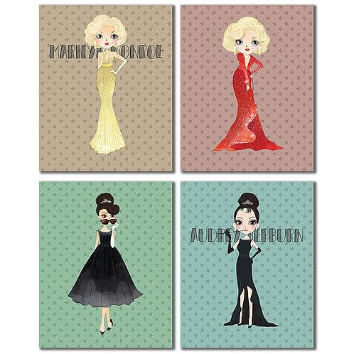 Audrey Hepburn & Marilyn Monroe Retro Prints - Set of Four 8x10 Wall Art Photos
