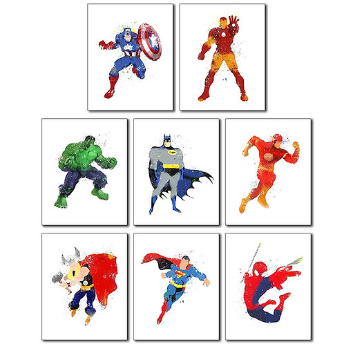 Superhero Wall Art Poster Prints - Set of Eight 8x10 Watercolor Photos Captain A