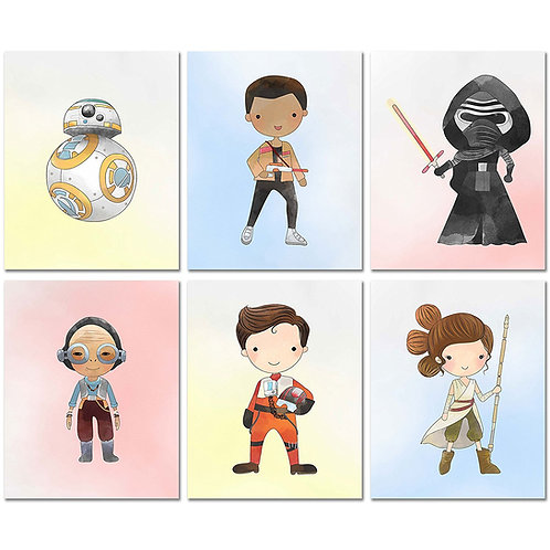 Star Wars Force Awakens Nursery Decor Prints - Set of Six 8x10 Watercolor Origin