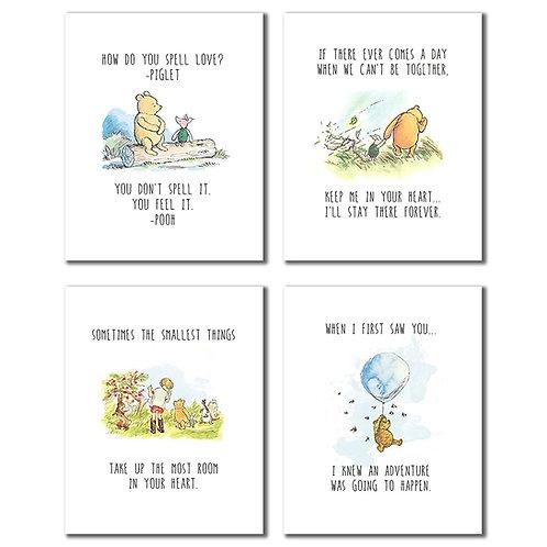 Winnie the Pooh Classic Art Prints - Set of Four 8x10 Wall Art Decor Photos Bedr