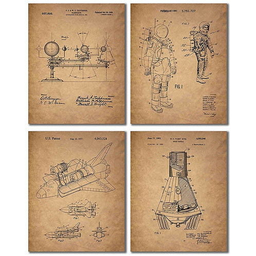 Space Patent Prints - Set of Four Vintage Wall Art Photos