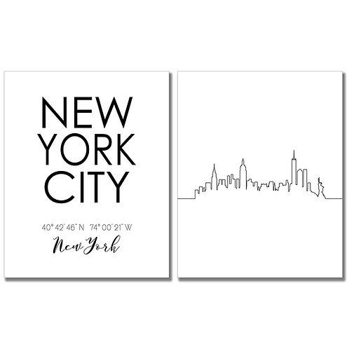 New York City Skyline Wall Art Prints Set of Two 8x10 Photos - Coordinates Typog