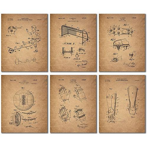 Soccer Patent Wall Art Prints - Set of Six Vintage Photos