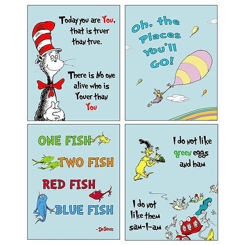 Dr Seuss Set of four ART Prints - Kids Baby Nursery Room Decor