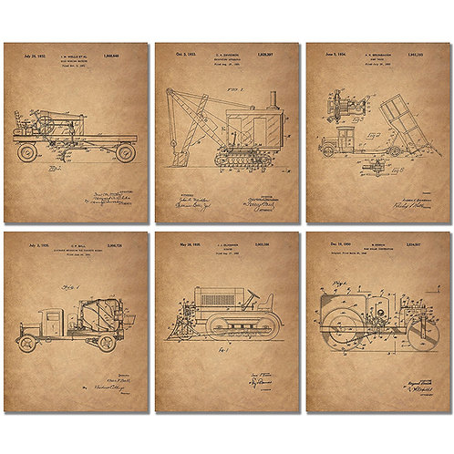 Construction Trucks Patent Prints - Set of Six Vintage Vehicle 8x10 Photos