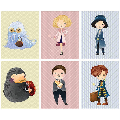 Fantastic Beasts and Where to Find Them Kids Room Wall Decor - Set of 6 Cute Art