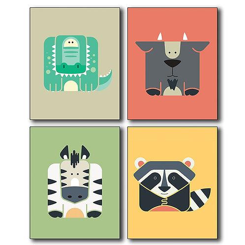 Animal Wall Art Poster Prints - Set of Four 8x10 Photos