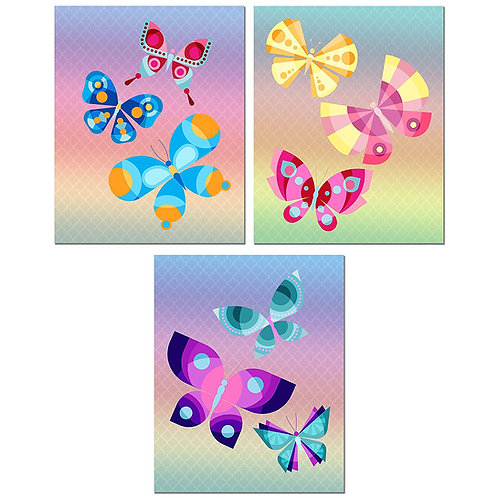 Butterfly Watercolor Prints - Set of Three Colorful 8x10 Photos - Wall Art Decor