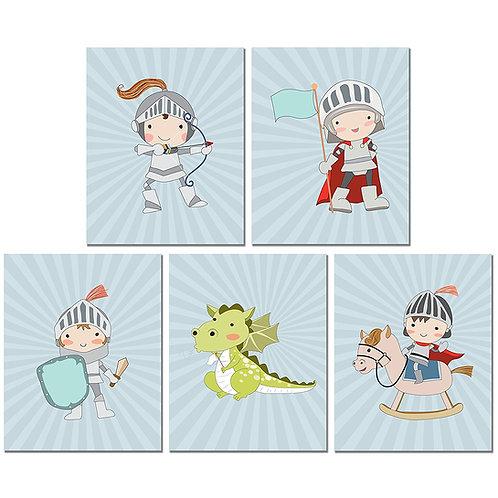 Knights Wall Art Nursery Prints - Set of Five 8x10 Photos