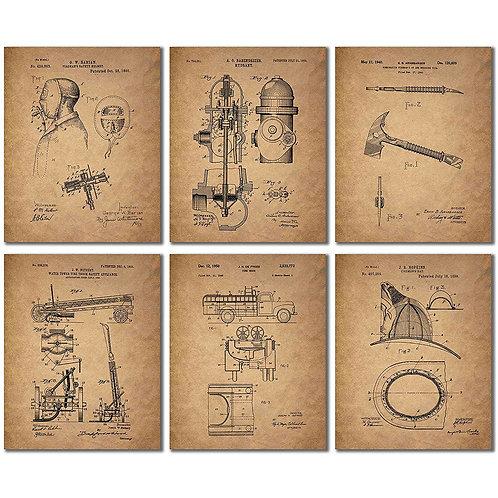 Firemen Patent Wall Art Prints - Set of Six 8x10 Photos - Unique Firefighter Gif
