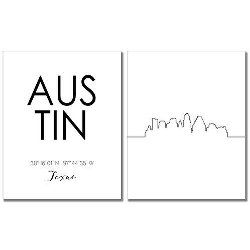 Skyline Wall Art (Austin)