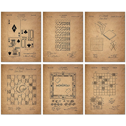 Board Games Patent Wall Art Prints - Set of Six Vintage Family Board Games Photo
