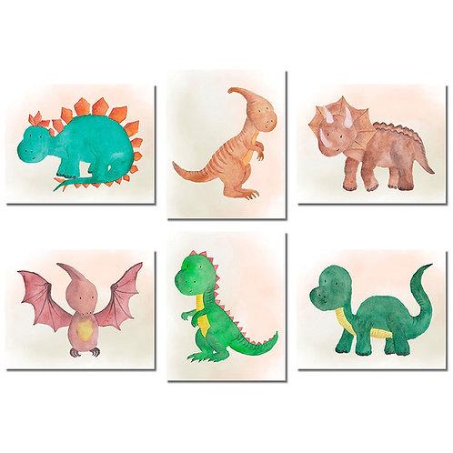 Dinosaur Watercolor Prints - Set of Six 8x10 Photos - Cute Kids Boys Girls Bedro