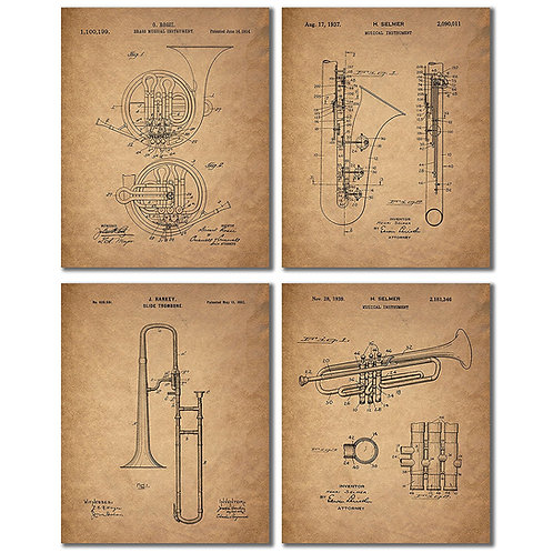 Trombone Trumpet Clarinet French Horn Patent Prints - Set of Four Vintage Wall A