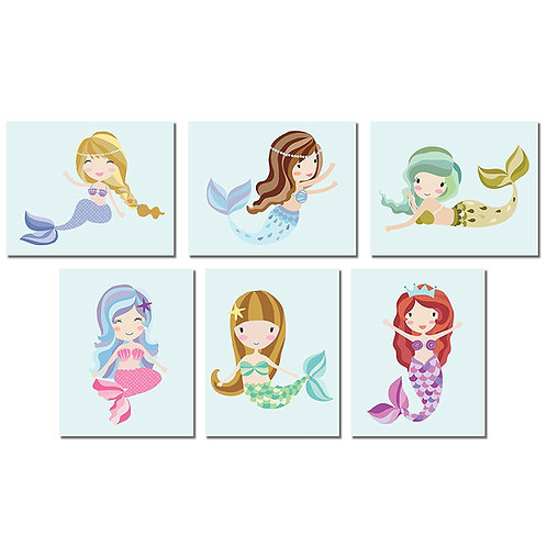 Mermaid Wall Art Prints 8X10