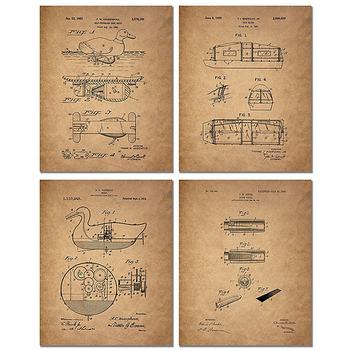 Duck Hunting Patent Prints - Set of Four 8x10 Vintage Wall Art Decor Photos