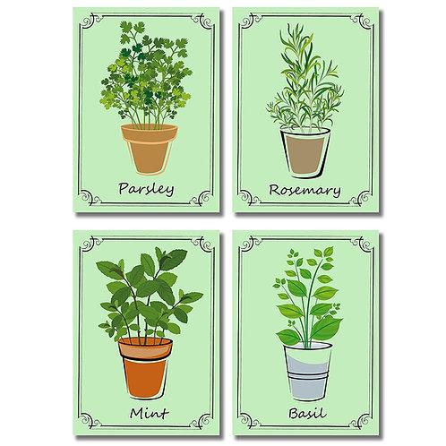 Herb Pots Wall Art Prints - Decorative Kitchen Decor (5x7, Green)