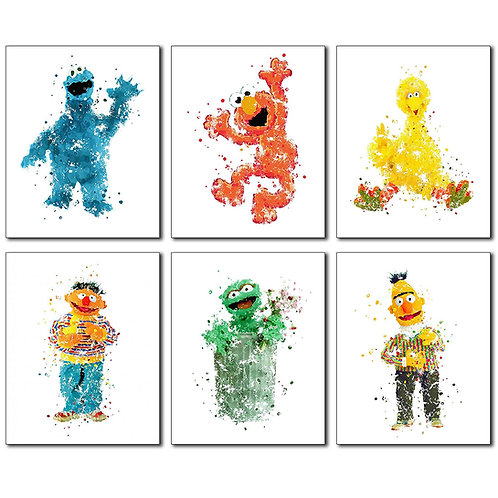 Sesame Street Watercolor Wall Art Prints - Set of 6 Photos Elmo Big Bird Cookie