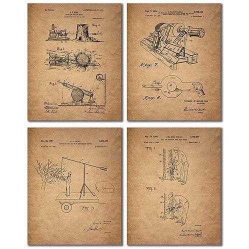 BigWig Prints Lumberjack Patent Print Photos - Set of Four 8x10 Vintage Chainsaw