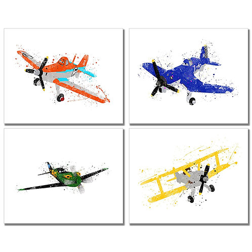 Disney Planes Watercolor Prints - Set of Four 8x10 Wall Art Decor Kids Bedroom P