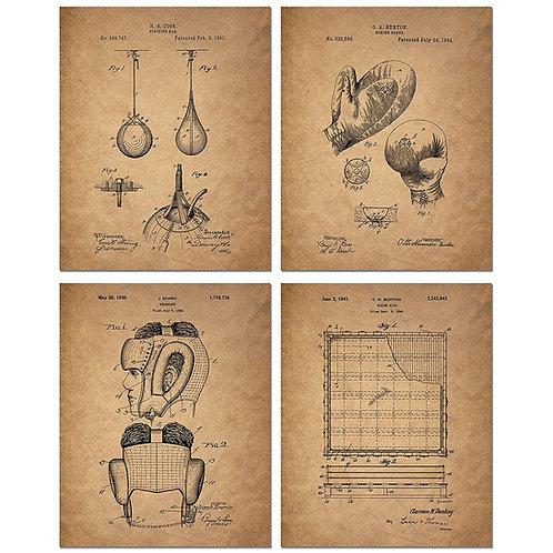 Boxing Patent Art Prints - Set of Four 8 x 10 Photos - Vintage Decor