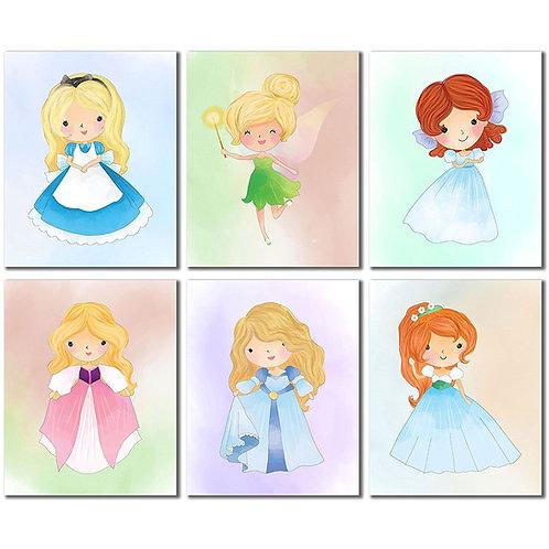 Disney Princess Kids Wall Art Prints - Tinker bell Wendy Alice in Wonderland Ode