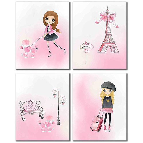 Pink Paris Decor Prints - Girls Room Wall Art Photos - Set of 4 8x10