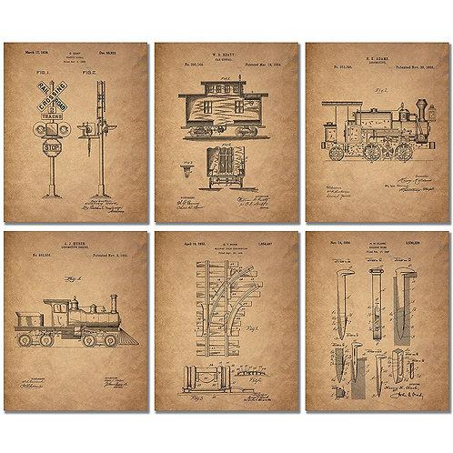 Railroad Train Patent Prints - Set of Six 8 x 10 Photos Locomotive Railway