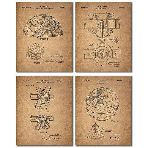 Buckminster Fuller GEODESIC DOME Inventor Patent Wall Art Prints - Set of Four V