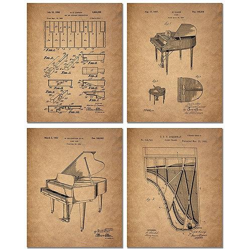 Piano Patent Art Prints - Set of Four Photos - Vintage Steinway Decor