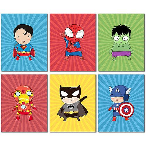 Superhero Kids Art Prints - Set of Six 8x10 Photos - Superman Spiderman Batman I