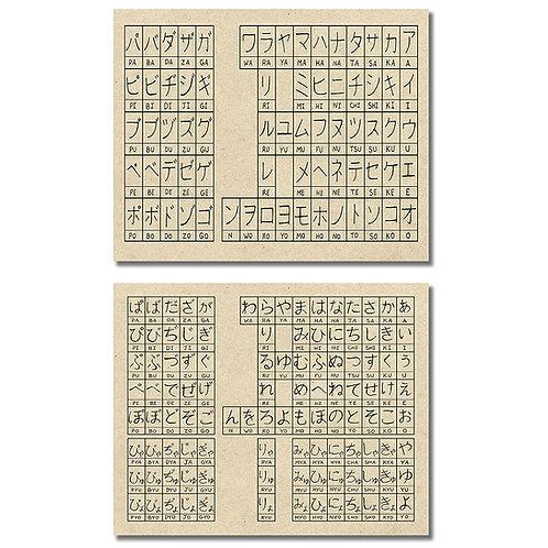 Japanese Alphabet - Hiragana & Katakana Script Photos - Set of two 8x10 Prints